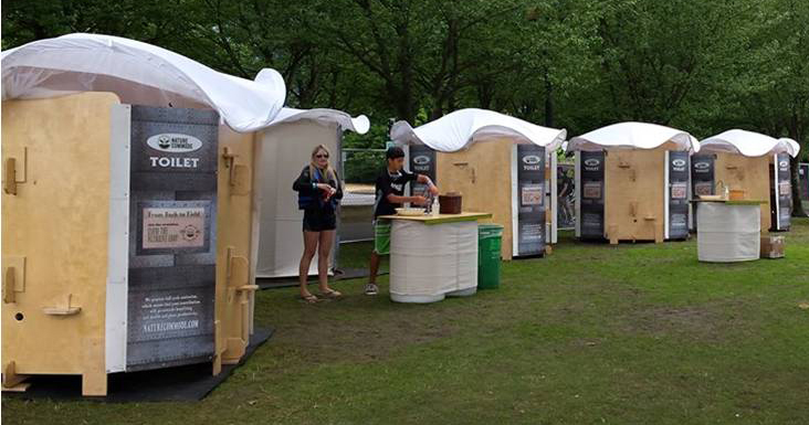 Attractive portable toilet kiosks offer visitors a pleasant introduction to ecological sanitation